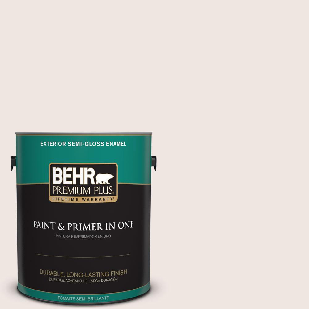 BEHR Premium Plus 1-gal. #PR-W12 Timid White Semi-Gloss Enamel Exterior Paint