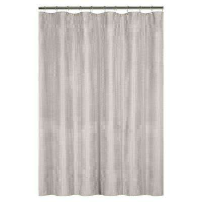 Waffle Weave 72 in. Tan Shower Curtain with Metal Grommets