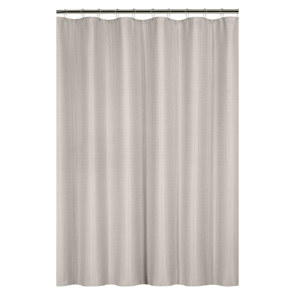Bath Bliss Waffle Weave 72 In Tan Shower Curtain With Metal Grommets 25871 TAUPE