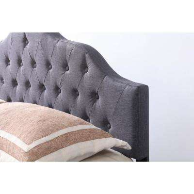 Gray Queen Fabric Upholstered Tufted Rounded Headboard