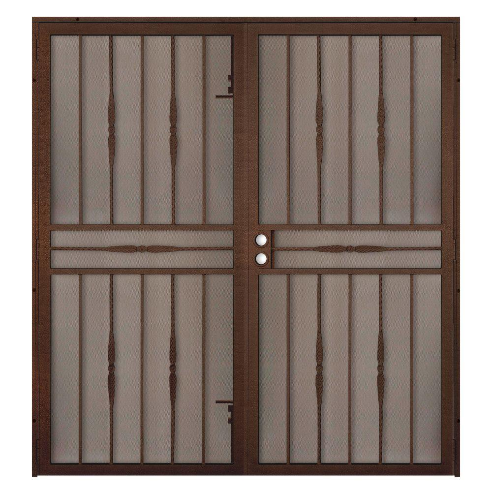 Unique Home Designs 72 In X 80 In Cottage Rose Copper Surface Mount Outswing Steel Security Double Door With Expanded Metal Screen