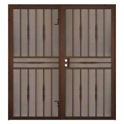 72 in. x 80 in. Cottage Rose Copper Surface Mount Outswing Steel Security Double Door with Expanded Metal Screen