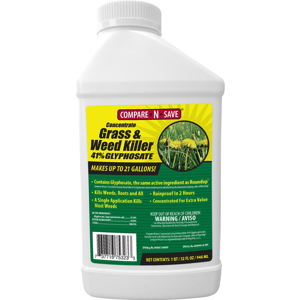 Compare N Save 32 Oz Grass And Weed Killer Glyphosate Concentrate 75323 The Home Depot