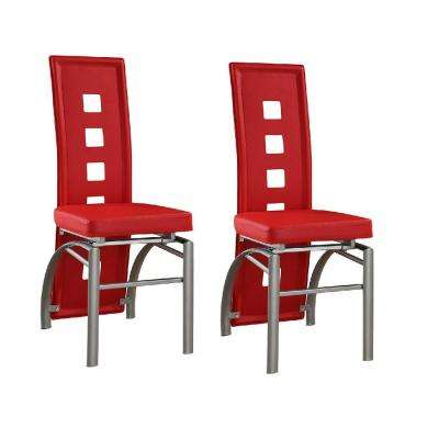Contemporary Red Leatherette Keyhole Back Dining Chair Set Of 2