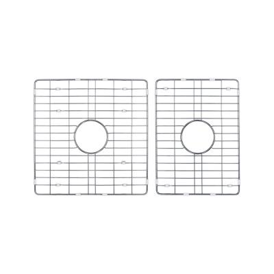 60/40 Double Bowl Fireclay Kitchen Sink Grid Set in Brushed Stainless Steel