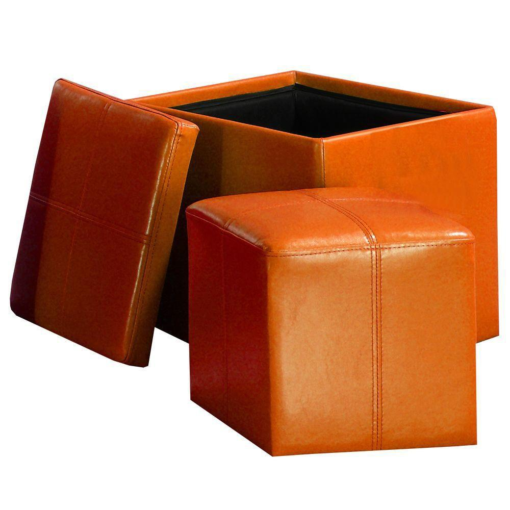 HomeSullivan Dual Storage Vinyl Cube Ottomans in Orange-DISCONTINUED