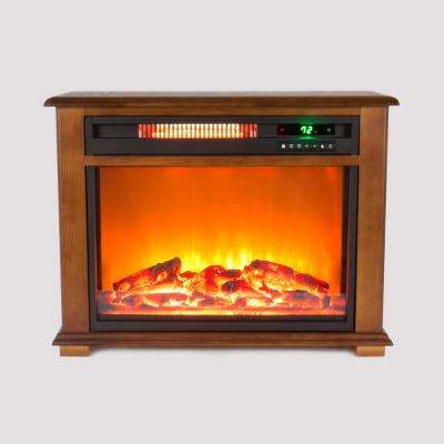 Quakerstown 29 in. Freestanding Electric Fireplace with Remote in Light Oak Stain