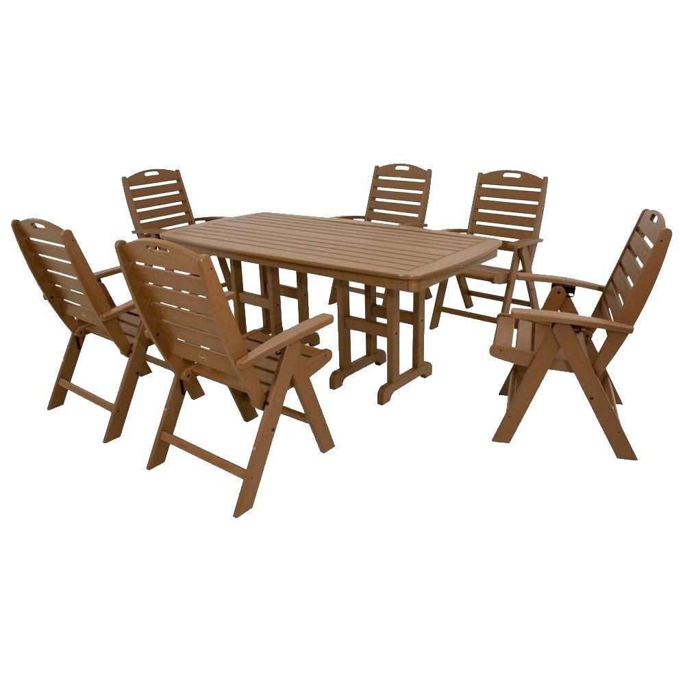 Yacht club tree house 7 piece high back plastic outdoor patio dining set