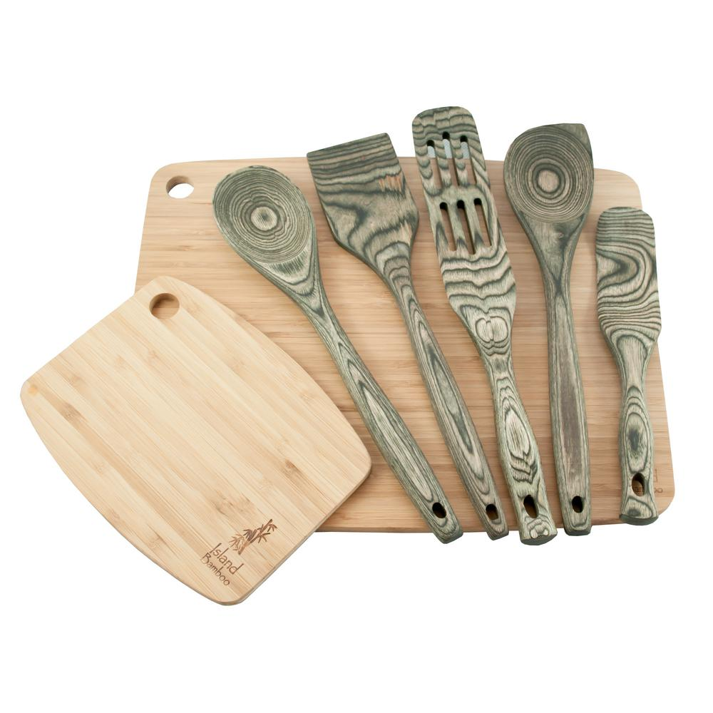 Pakka 7-Piece Black Utensil and Cutting Board Set