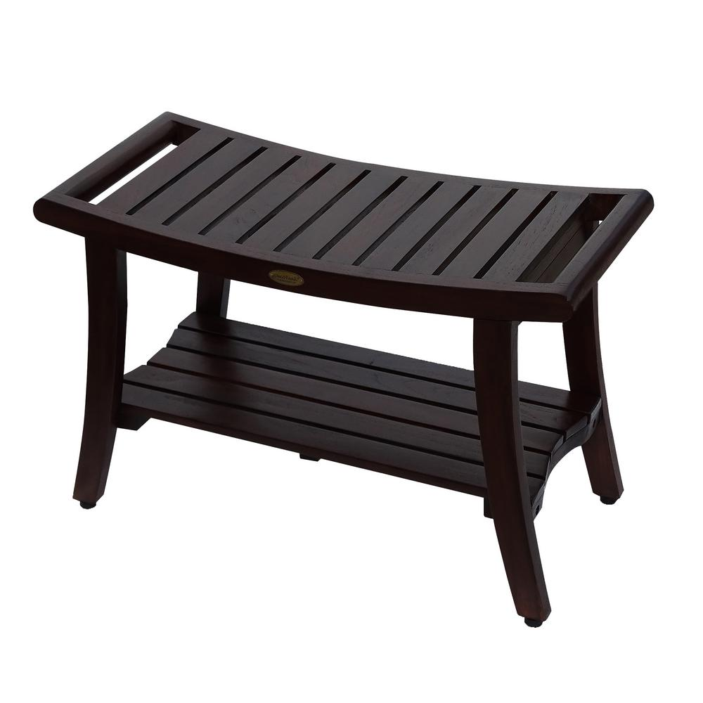 DecoTeak Harmony 30 in. Teak Shower Bench with Shelf And LiftAide ...