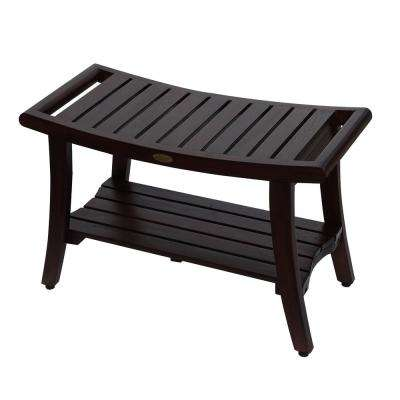 Harmony 30 in. Teak Shower Bench with Shelf And LiftAide Arms