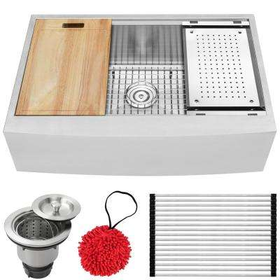 Bryce Zero Radius Farmhouse Apron Front 16-Gauge Stainless Steel 33 in. Single Basin Kitchen Sink with Accessory Kit