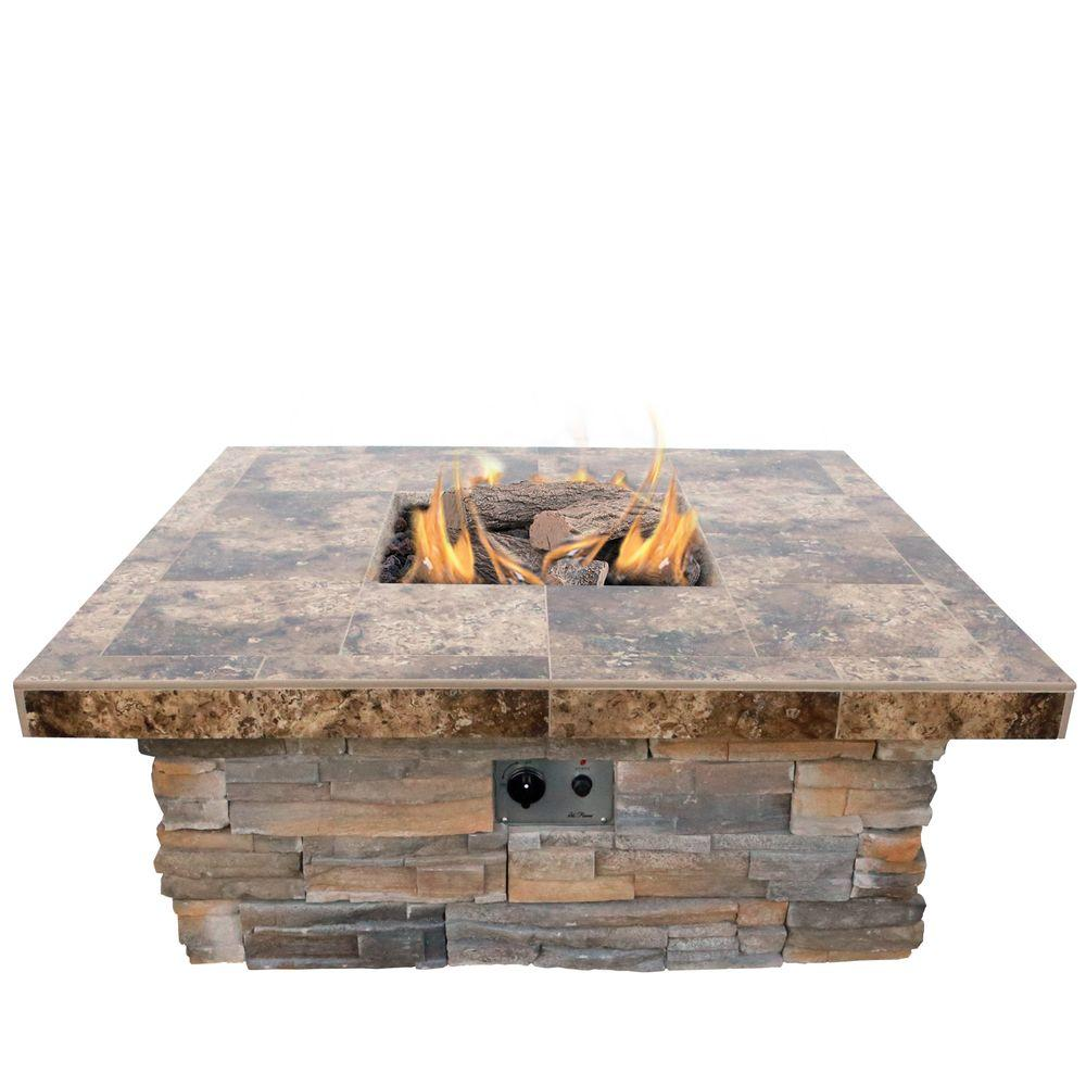 Cal Flame 48 In Natural Stone Propane Gas Fire Pit In