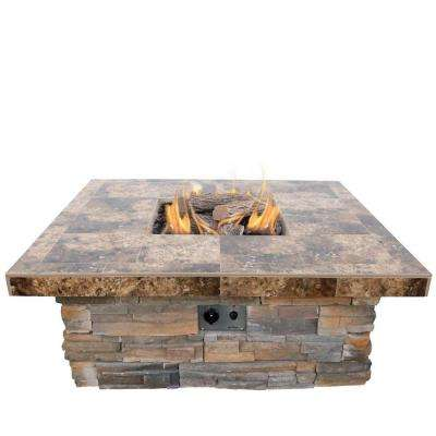 48 in. Natural Stone Propane Gas Fire Pit in Gray with Log Set and Lava Rocks