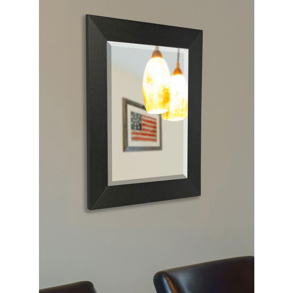 59.5 in. x 20.5 in. Black Carbon Fiber Beveled Vanity Mirror