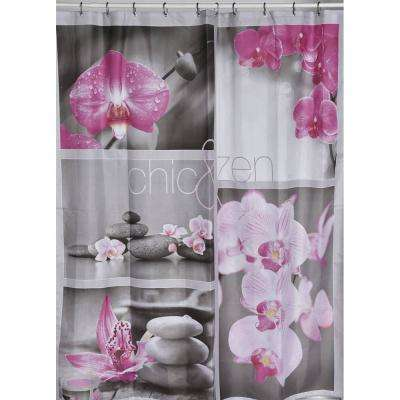 Chic and Zen 71 in. x 79 in. Multicolored Polyester Fabric Shower Curtain