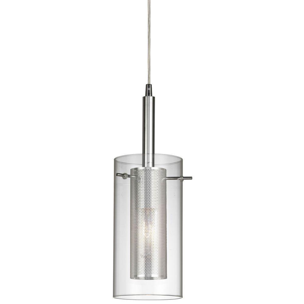 Radionic Hi Tech Nella 1-Light Polished Chrome Pendant with Clear Glass/Steel Mesh