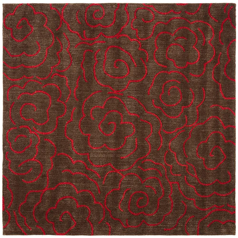 Safavieh Soho Chocolate/Red 6 ft. x 6 ft. Square Area Rug