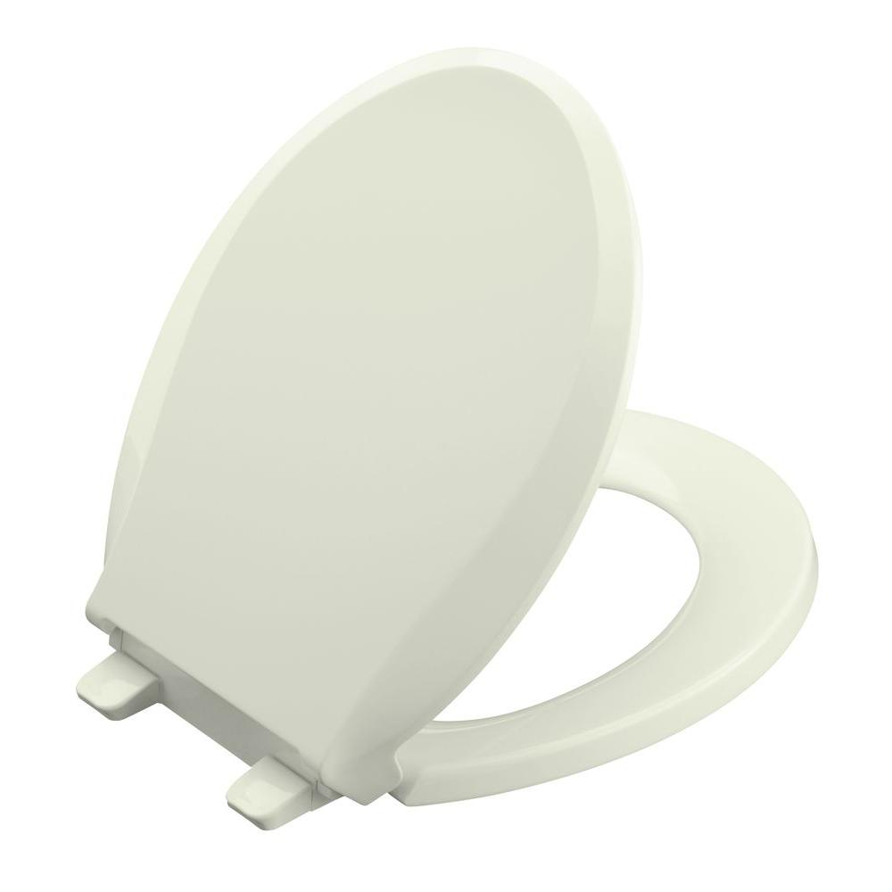 KOHLER Cachet Round Front Closed-front Toilet Seat with Q3 Advantage in Tea Green-DISCONTINUED