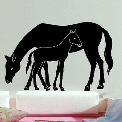 36 in. H x 36 in. D 9-Piece Mare and Foal Wall Sticker (2-Sheets)