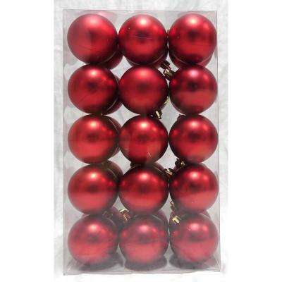Holiday Traditions 2.3 in. Matte Shatterproof Ornament in Red (30-Count)