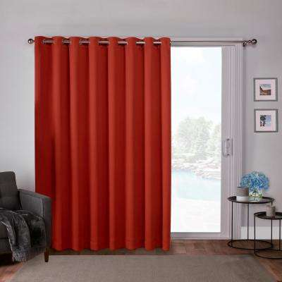 Sateen Patio 100 in. W x 84 in. L Woven Blackout Grommet Top Curtain Panel in Mecca Orange (1 Panel)