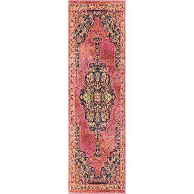 Passionate 8' Runner Pink Multicolor Boho Area Rug
