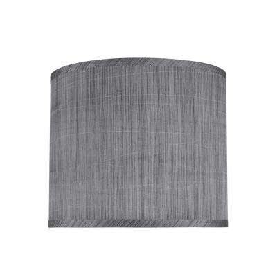 12 in. x 10 in. Grey and Black and Striped Pattern Hardback Drum/Cylinder Lamp Shade