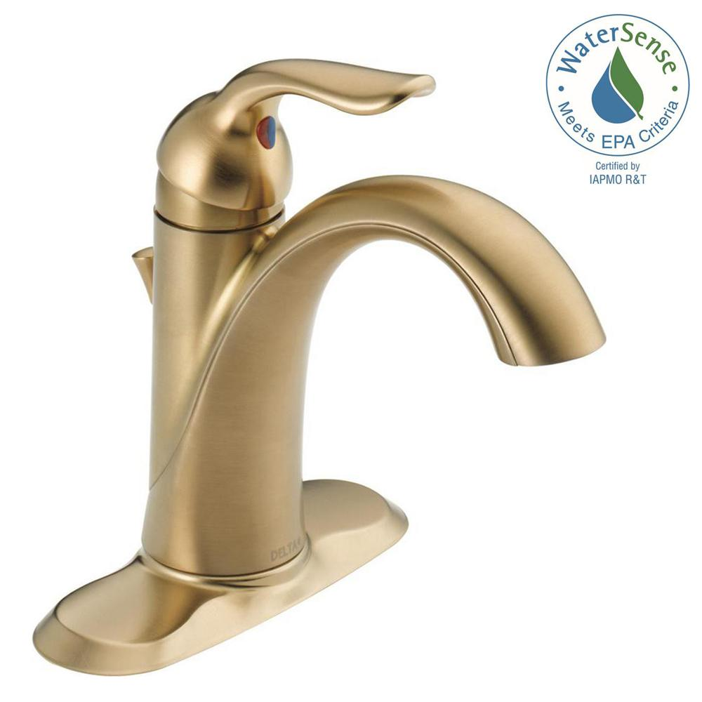 delta lahara single hole single handle bathroom faucet with metal rh homedepot com brass single hole bathroom faucet brass single lever bathroom faucet