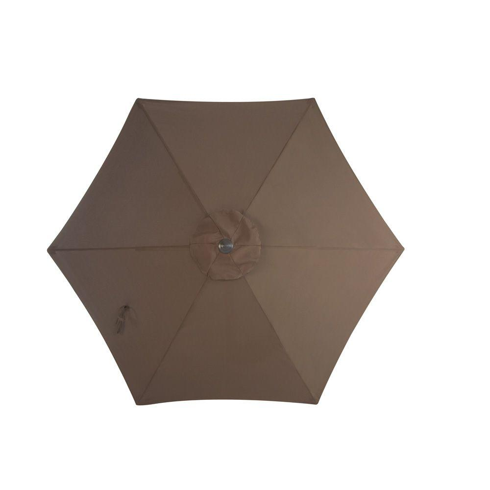 Martha Stewart Living Grand Bank 9 ft. Patio Umbrella in Brown