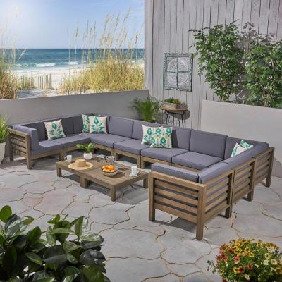 Oana Grey 12-Piece Wood Patio Conversation Sectional Seating Set with Dark Grey Cushions