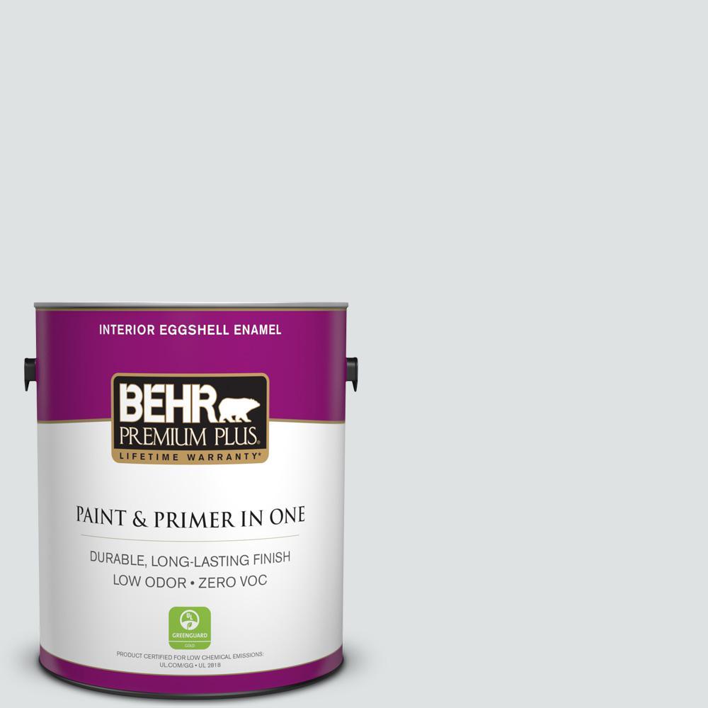 BEHR Premium Plus 1-gal. #W-F-520 Ash White Zero VOC Eggshell Enamel Interior Paint