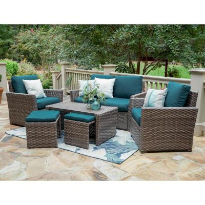 Newton 6-Piece Wicker Patio Seating Set with Peacock Cushions