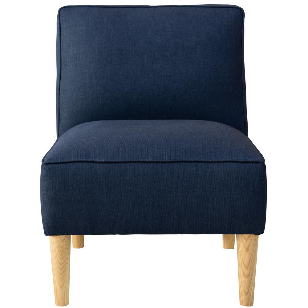 Slubby Linen Navy Armless Chair