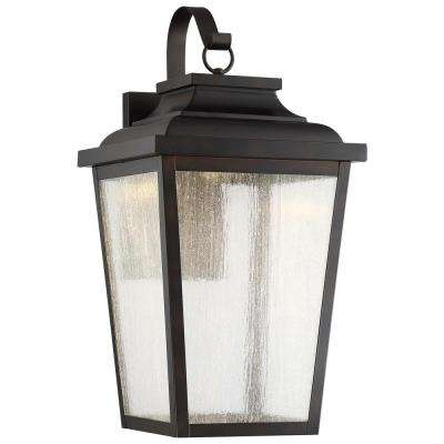 Irvington Manor 1-Light Chelesa Bronze Integrated LED Wall Mount Lantern