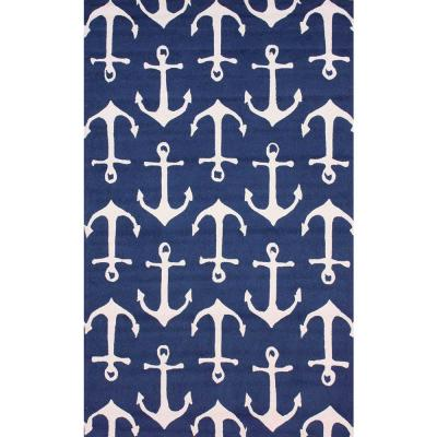 Nautical Anchors Navy 6 ft. x 9 ft.  Indoor/Outdoor Area Rug