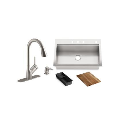 Lyric Workstation 33 in. Dual Mount Stainless Steel Single Bowl Kitchen Sink with Setra Touchless Kitchen Faucet