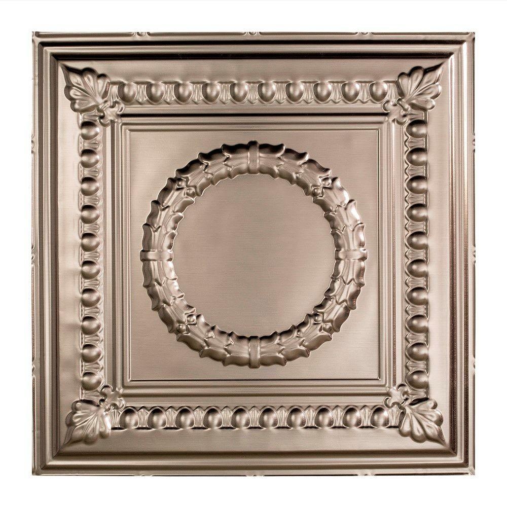 Fasade Rosette 2 Ft X 2 Ft Lay In Ceiling Tile In Brushed Nickel
