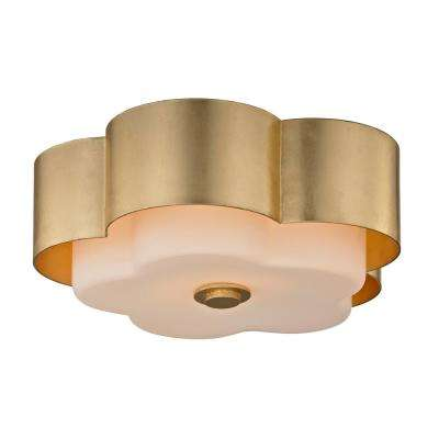 Allure 2-Light Gold Leaf Celling Flushmount with Opal White Glass Shade