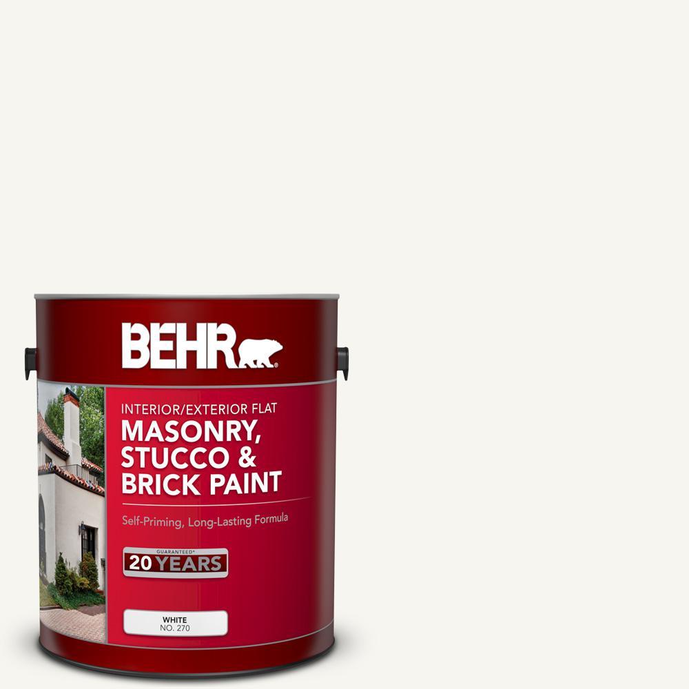 1 Gal. White Flat Masonry, Stucco and Brick Interior/Exterior Paint