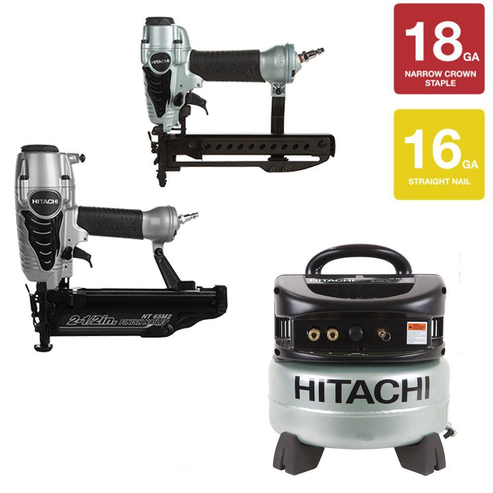 Hitachi 16-gauge 2-1/2 in. Finish Nailer with Air Duster, 1/4 in. Narrow Crown Stapler and 6 gal. Compressor Kit (3-Piece)