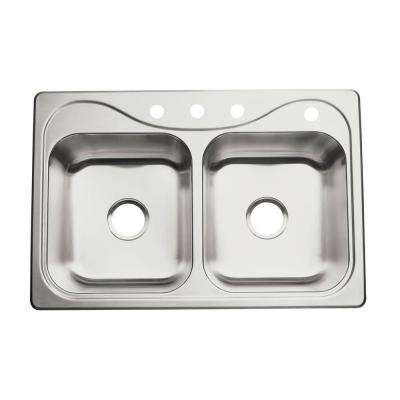 Southhaven Drop-in Stainless Steel 33 in. 4-Hole Double Bowl Kitchen Sink