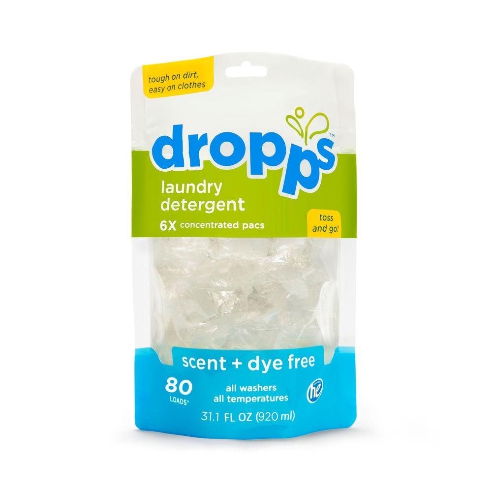 80-Count Dropps Scent and Dye Free Laundry Detergent Pack (Case of