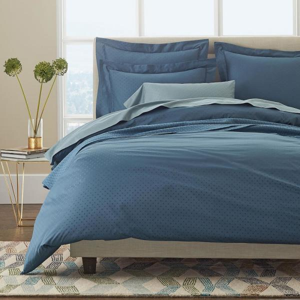 The Company Store Legends Luxury Dot Supima Sateen Mirage Blue Oversized  King Duvet Cover
