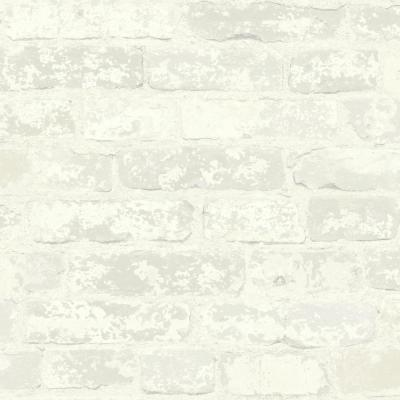 28.18 sq. ft. Stuccoed White Brick Peel and Stick Wallpaper