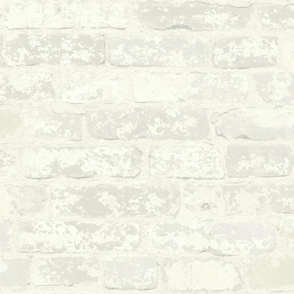 Stuccoed White Brick Vinyl Peelable Wallpaper (Covers 28.18 sq. ft.)