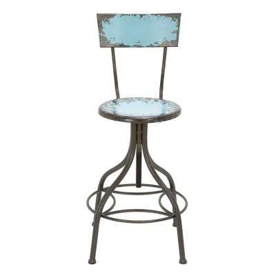 41 in. Blue Industrial Style Metal Bar Chair with Adjustable Seat