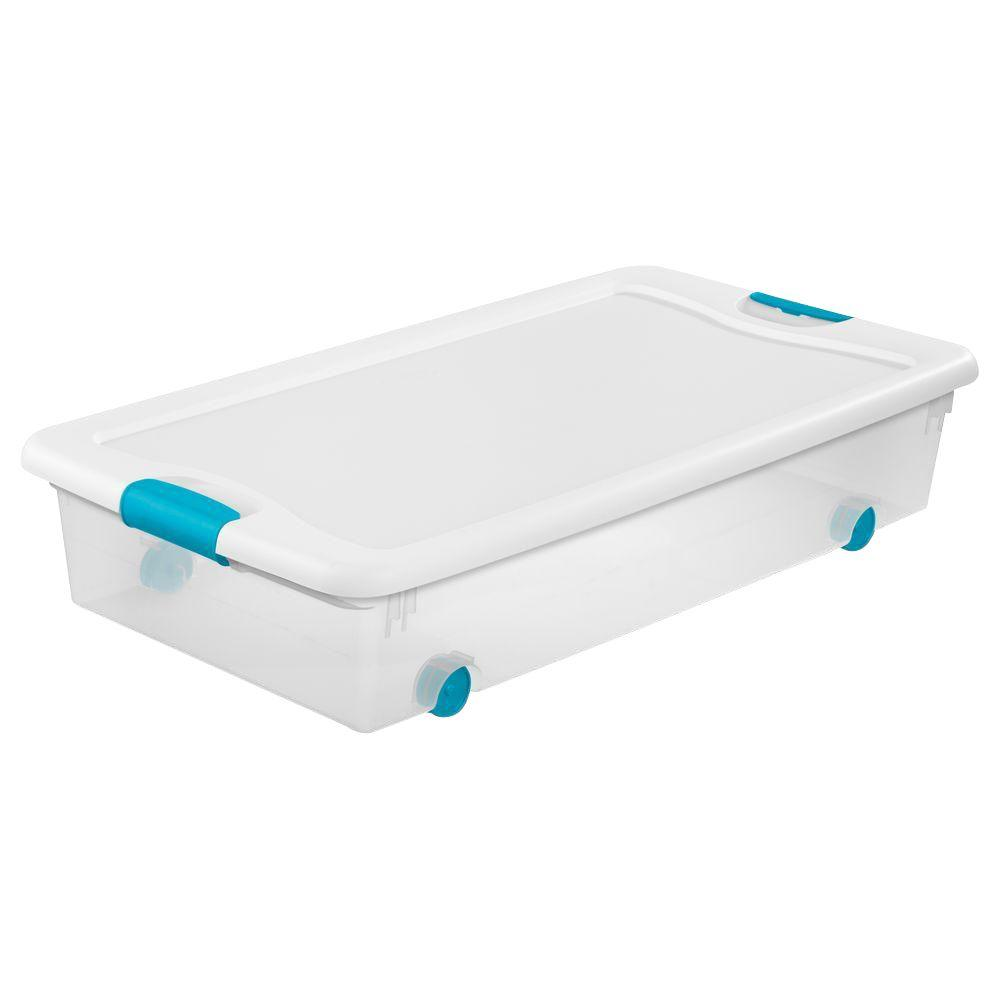 Sterilite 56 Qt. Latching Wheeled Storage Box  sc 1 st  The Home Depot & Sterilite 56 Qt. Latching Wheeled Storage Box-14988004 - The Home Depot