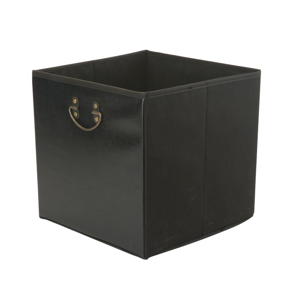 Simplify 12.8 in. x 12.8 in. x 12.8 in. Faux Leather Collapsible Black Storage Cube