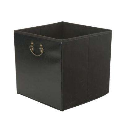 12.8 in. x 12.8 in. x 12.8 in. Faux Leather Collapsible Black Storage Cube